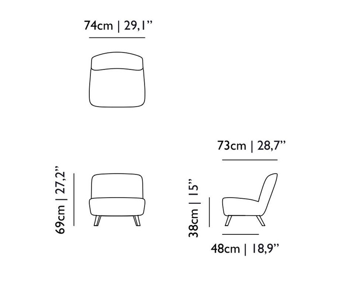 moooi cocktail chair dimensions
