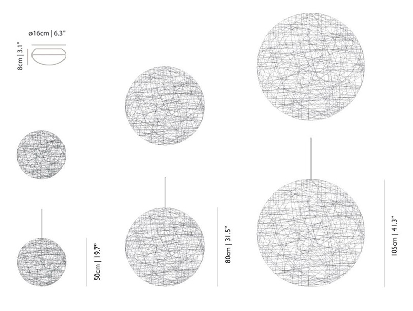 moooi random light size dimensions