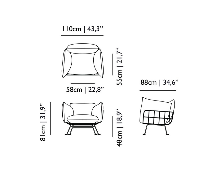 moooi nest chair dimensions