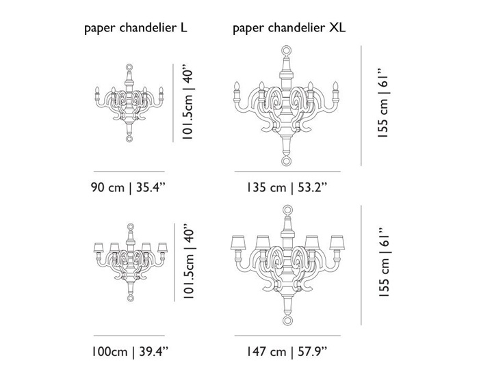 moooi paper chandelier xl dimensions
