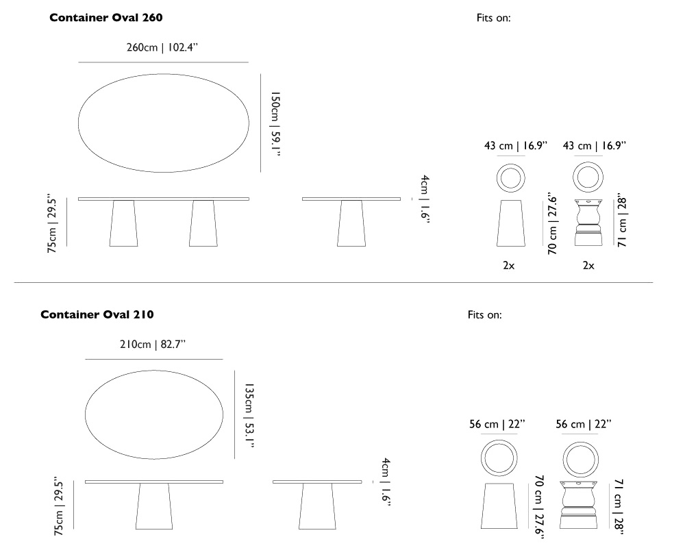 moooi container oval size dimensions