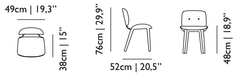 moooi nut dining chair size dimensions