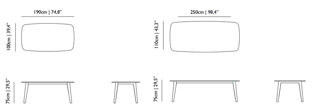 moooi tapered table size dimensions