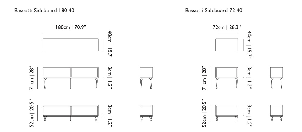 moooi bassotti sideboard size dimensions