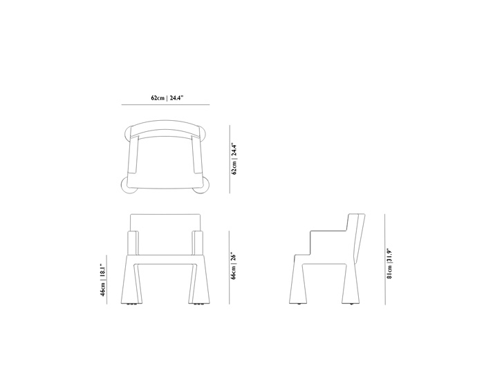 moooi v.i.p. chair dimensions